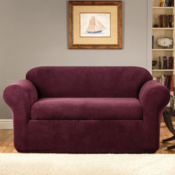 Sure Fit - Stretch Metro Two-piece Burgundy Sofa Slipcover - Clean lines and an understated two-tone grid pattern are the signatures of our Stretch Metro two piece separate seat collection. This slipcover is perfect for revitalizing furniture.