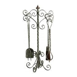 Cyan Design - Coastal Fireplace Tools - Coastal fireplace tools - distressed antique white