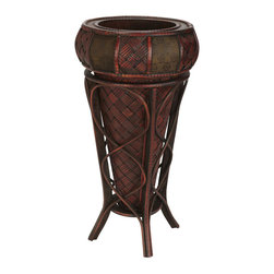Nearly Natural - Decorative Stand Planter - This Vase with stand is perfect for those enjoying an elaborate collection of textures and colors. Resting in a vivid burgundy holder with intertwining designs, the island-inspired cross thatch mat design peeks out at admirers, demanding a closer look. Then the rim boasts two different alternating patterns, creating a rich blend of colors and shapes. Perfect for any home or office, and makes a great gift, too. Colors: Burgundy. Height: 22 in; Width: 11.5 in; Depth: 11.5 in.