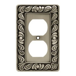 Liberty Hardware - Liberty Hardware 64044 Paisley WP Collection 3.15 Inch Switch Plate - Brushed Sa - The Paisley design adds a glamorous feel to every room with its tear drop design. The pewter finish brings distinguished style and old world feel to any room. Fasteners are included and sized to fit standard electrical boxes. This family is available in the 10 most popular wall plate configurations.. Width - 3.15 Inch,Height - 4.9 Inch,Projection - 0.3 Inch,Finish - Brushed Satin Pewter,Weight - 0.31 Lbs