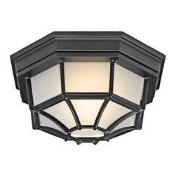 """Kichler - Outdoor Flush Mount in Black - Features: -One light outdoor flush mount. -Black finish. -Aluminum construction. -Etched acrylic glass. -UL CSA listed. -Eco friendly. Specifications: -Accommodates (1) 18W PBCFS1850 fluorescent bulb. -Backplate dimensions: 11.34"""" H x 11.34"""" W. -Overall dimensions: 4.83"""" H x 11.34"""" W."""