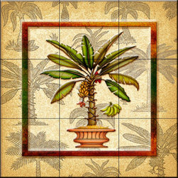 The Tile Mural Store (USA) - Tile Mural - Banana Palm 3   - Kitchen Backsplash Ideas - This beautiful artwork by Dan Morris has been digitally reproduced for tiles and depicts a framed palm tree in a pot.  With our enormous selection of tile murals of tropical plants and flowers you can bring your kitchen backsplash tile project to life. A decorative tile mural with plants and flowers is an impressive kitchen backsplash idea and decorative flower tiles also work great in the bathroom. Add splashes of color and life to your tile project with images of flowers on tiles and tiles with pictures of plants.