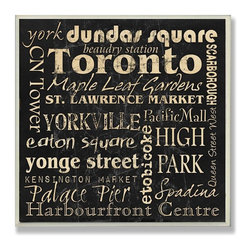 Stupell Industries - Toronto Typography Landmarks Square Wall Plaque - Made in USA. Ready for Hanging. Hand Finished and Original Artwork. No Assembly Required. 12 in L x .5 in W x 12 in H (2 lbs.)Made in USA! celebrate your favorite city with a distressed hand-painted wall plaque. Featuring trendy typography-styled letters in a monochromatic color scheme, these plaques will add edgy appeal to any room of your house. Measuring 15 x 10, each plaque is constructed of sturdy medium-density fiberboard with coved and painted borders and a sawtooth hanger for simple installation.