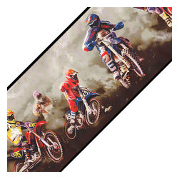 York Wallcoverings - Motorcross Dirt Bike Sports 9in Wide Wall Paper Border Roll - FEATURES:
