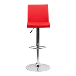 Flash Furniture - Flash Furniture Barstools Residential Barstools X-GG-DER-66029-HC - This dual purpose stool easily adjusts from counter to bar height. The simple design allows it to seamlessly accent any area in the home. Not only is this stool stylish, but very comfortable to provide you with an amazing sitting experience! The easy to clean vinyl upholstery is an added bonus when stool is used regularly. The height adjustable swivel seat adjusts from counter to bar height with the handle located below the seat. The chrome footrest supports your feet while also providing a contemporary chic design. [CH-92066-RED-GG]