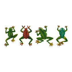 Colorful Set of 4 Wall Mounted Tree Frogs - This set of 4 colorful tree frogs is an excellent accent to any wall! They are made of cold cast resin and feature bright colors, a fun crackle finish, and each one mounts to the wall with just one nail. The green frog with yellow feet measures 12 inches tall, 9 1/4 inches wide, and 1 inch deep. The blue-green frog measures 10 1/3 inches tall, 6 inches wide, and 1 inch deep. The red frog  measures 10 inches tall, 7 inches wide, and 3/4 of an inch deep. And last, but not least, the smaller green frog with orange toes measures 11 1/2 inches tall, 8 1/2 inches wide, and 1 inch deep. They will look lovely any way you decide to display them, and are sure to get compliments!