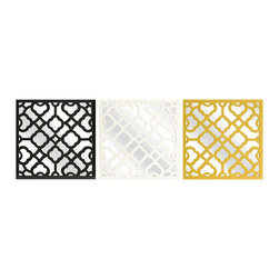 iMax - iMax Prinstly Wall Mirrors - Set of 3 X-3-38374 - Graphic, bold pattern overlaps the set of three Prinstly wall mirrors in black, canary and white. Buy multiple sets to make a dramatic statement.