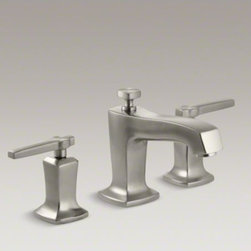 KOHLER - KOHLER Margaux(R) widespread bathroom sink faucet with lever handles - Redefine traditional styling with this Margaux bathroom sink faucet, which features a strong modern design that commands attention. This faucet comes with bold, ergonomic lever handles and Margaux's subtle pillow-top detailing. Outfitted with easy-to-inst