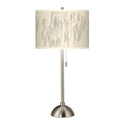 Giclee Gallery - Weeping Willow Giclee Brushed Steel Table Lamp - Stunningly natural and yet refined, the Weeping Willow giclee shade on this contemporary table lamp glows with earthy allure. This contemporary table lamp features a stylish, custom giclee art shade. The colorful pattern is complemented by a smart-looking brushed steel finish base. An on/off pull chain makes for convenient lighting control. U.S. Patent # 7,347,593.