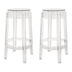 Baxton Studio - Baxton Studio Bettino Clear Acrylic Counter Stool Set of 2 - The silhouette-inspired design of this counter stool is a sure attention-grabber that coordinates with any color scheme. Constructed with transparent acrylic, this stunner includes non-marking feet that both help protect sensitive floors and stabilize the stool. This item will arrive fully assembled.