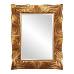 "Howard Elliott - Terrance Textured Gold Leaf with Copper Accents Mirror - Textured Gold Leaf w/ Copper Accents   Frame Dimensions: 38""W X 49""H X 2""D; Mirror Dimensions: 24""W X 36""H; Finish: Gold Leaf with Copper Accents; Material: Resin; Beveled: Yes; Shape: Rectangular; Weight: 35 lbs; Included: Brackets, Ready to Hang Vertically or Horizontally"