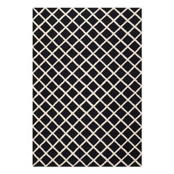 Safavieh - Ackerman Hand Tufted Rug, Black / Ivory 6' X 9' - Construction Method: Hand Tufted. Country of Origin: India. Care Instructions: Vacuum Regularly To Prevent Dust And Crumbs From Settling Into The Roots Of The Fibers. Avoid Direct And Continuous Exposure To Sunlight. Use Rug Protectors Under The Legs Of Heavy Furniture To Avoid Flattening Piles. Do Not Pull Loose Ends; Clip Them With Scissors To Remove. Turn Carpet Occasionally To Equalize Wear. Remove Spills Immediately. Bring classic style to your bedroom, living room, or home office with a richly-dimensional Safavieh Cambridge Rug. Artfully hand-tufted, these plush wool area rugs are crafted with plush and loop textures to highlight timeless motifs updated for today's homes in fashion colors.