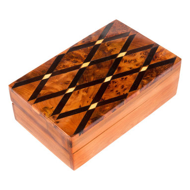 "Moroccan Buzz - Inlaid Cross-Hatch Box, Moroccan Thuya Wood - ""An original gift for him or her, this handcrafted Moroccan Thuya wood box is a desk accessory, jewelry box, change holder, and more! It features ebony-stained, natural, and burl wood inlays and a lovely cedar-like fragrance. The exotic Thuya tree, native to the Middle Atlas Mountains, has been used for centuries by Moroccan woodcraft artisans. Thuya wood burls, the knobby outgrowths of the trunk or branches, produce beautiful and interesting wood grains which make every piece truly unique. The wonderful cedar-like aroma of Thuya wood lasts for years. Our Thuya wood pieces were handcrafted by artisans in the coastal town of Essaouira, close to the source of the Thuya wood, and renowned for its talented woodworkers."""