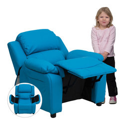 Flash Furniture - Deluxe Heavily Padded Contemporary Turquoise Vinyl Kids Recliner with Storage - Kids will now be able to enjoy the comfort that adults experience with a comfortable recliner that was made just for them! This chair features a strong wood frame with soft foam and then enveloped in durable vinyl upholstery for your active child. Choose from an array of colors that will best suit your child's personality or bedroom. This petite sized recliner features storage arms so kids can store items away and retrieve at their convenience.