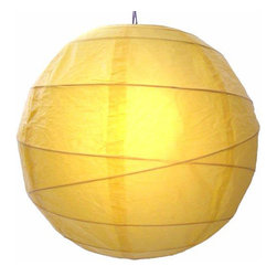 "Oriental-Decor - Sunny Yellow Globe Lantern, 12"" - Yellow is a very spiritual color in Asian culture and Buddhism. It is very closely associated with the color gold and the enlightened state. Yellow is also a vibrant color that gives off energy and good cheer. Hang one, or a series, of this beautiful paper lantern for a festive look and a decorative effect."