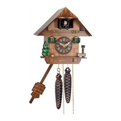 River City Clocks - River City Tree, Mushroom and Water Pump One Day Cuckoo Clock Cottage - This black forest cuckoo clock displays a tree, mushroom, and Water pump at the base of the clock.