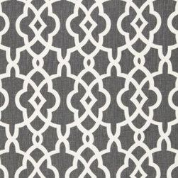 Schumacher - Summer Palace Fret Fabric, Smoke - 2 YARD MINIMUM ORDER