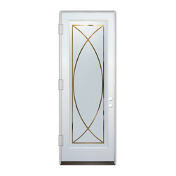 Sans Soucie Art Glass (door frame material Plastpro) - Glass Front Entry Door Sans Soucie Art Glass Arcs - Sans Soucie Art Glass Front Door with Sandblast Etched Glass Design. Get the privacy you need without blocking light, thru beautiful works of etched glass art by Sans Soucie!  This glass is semi-private.  (Photo is view from outside the home or building.)  Door material will be unfinished, ready for paint or stain.  Bronze Sill, Sweep.  Satin Nickel Hinges. Available in other finishes, sizes, swing directions and door materials.  Dual Pane Tempered Safety Glass.  Cleaning is the same as regular clear glass. Use glass cleaner and a soft cloth.