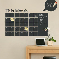 "Simple Shapes - Chalkboard Calendar with Memo Wall Decal - Stay organized with the help of this chalkboard wall calendar. This calendar wall decal incorporates a black chalkboard vinyl that you can write on and erase. This calendar design also includes an extra ""memo"" area on the side. It is applied directly to the wall. (Chalk Ink pen not included.)"