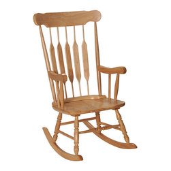 None - Gift Mark Home Adult Resting Natural Finish Rocking Chair - This adult sized rocking chair is just like the one that grandma used when she used to rest her weary legs. The heirloom quality of this rocking chair makes use of solid wood,giving the chair the best parts of both style and strong durability.