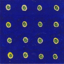 "Knobco - Tiles 4x4"", Big yellow green dots on blue - Big yellow green dots on blue tile from Jaipur, India. Unique, hand painted tiles for your kitchen or other tiling project. Tile is 4x4"" in size."