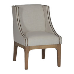 Gabby - Gabby Garner Chair - The Gabby Garner chair's curved silhouette excites with modern embellishments. Nailhead accents and brown natural oak legs complement the seat's sand gray linen blend fabric for contemporary allure. Natural oak finish