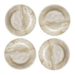 "Juliska - Juliska Firenze Cappuccino Marbleized Cocktail Plates, Set of 4 - From the Firenze Collection - set against a swirling backdrop of warm cappuccino tones, your greenest greens and freshest delicacies radiate their natural beauty from our stunning salad plate. Our neutral palette blends seamlessly with our other collections and patterns. From fresh figs and prosciutto to rustic breads and cheeses, our swirling palette of warm cappuccino tones offer a perfect backdrop for small bites. Unique Cappucino Marbelization. Hand Wash Only Please. Dimensions: 7"" W. Handmade in Portugal"