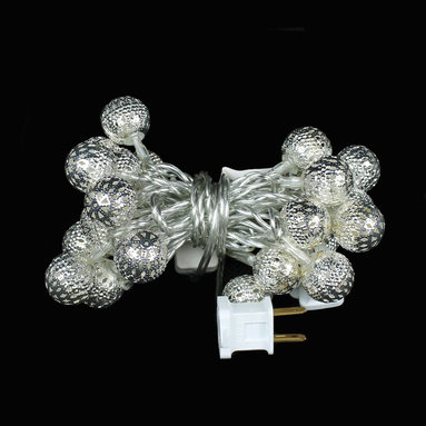 Christmas Home Decorations - Round Filigree LED Ornament Lights - These gorgeous filigree LED Ornament Light Strings will make your holiday decorations sparkle. Very classy! Up to 100,000 hour bulb life.