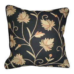 Crewel Pillow Peaces Black Cotton (16x16)