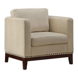 Coaster - Coaster Club Chair in Beige with Walnut Colored Legs - Coaster - Club Chairs - 900172 - Feel complete comfort in this barrel seat accent chair with walnut finished legs and individually placed decorative nailheads. Sit back and relax in this wonderful chair from Coaster that is both cozy and comfortable.