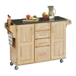 """Home Styles - Kitchen Cart with Granite Top - This kitchen island cart features solid wood construction, heavy duty casters, concealed storage, and so much more! Features: -Black granite top.-Concealed storage.-Adjustable condiment or spice caddy.-Adjustable towel bar.-Metal drawer suspensions.-Brushed steel pulls.-Heavy duty casters, with front casters locking.-Solid wood construction with MDF insert panels for increased strength.-Product Type: Kitchen Cart.-Collection: Create-a-Cart.-Counter Finish: Granite.-Hardware Finish: Brushed steel.-Distressed: No.-Powder Coated Finish: No.-Gloss Finish: No.-Base Material: Wood.-Counter Material: Black granite.-Hardware Material: Brushed steel.-Solid Wood Construction: Yes.-Number of Items Included: 1.-Water Resistant or Waterproof: No.-Stain Resistant: No.-Warp Resistant: No.-Exterior Shelves: No.-Drawers Included: Yes -Number of Drawers: 4.-Push Through Drawer: No..-Cabinets Included: Yes -Number of Cabinets : 2.-Double Sided Cabinet: No.-Adjustable Interior Shelves: Yes.-Number of Doors: 2.-Locking Doors: No.-Door Handle Design: Linear pulls..-Towel Rack: Yes -Removable Towel Rack: No..-Pot Rack: No.-Spice Rack: Yes .-Cutting Board: No.-Drop Leaf: No.-Drain Groove: No.-Trash Bin Compartment: No.-Stools Included: No.-Casters: Yes -Locking Casters: Yes.-Removable Casters: No..-Wine Rack: No.-Stemware Rack: No.-Cart Handles: No.-Finished Back: Yes.-Commercial Use: No.-Recycled Content: No.-Eco-Friendly: No.-Product Care: Clean with a damp cloth.Specifications: -ISTA 3A Certified: Yes.Dimensions: -Overall Height - Top to Bottom: 35.5"""".-Overall Width - Side to Side: 48"""".-Overall Depth - Front to Back: 17.75"""".-Width Without Side Attachments: 44.5"""".-Height Without Casters: 31.75"""".-Countertop Thickness: 0.75"""".-Countertop Width - Side to Side: 44.5"""".-Countertop Depth - Front to Back: 17.75"""".-Shelving: -Shelf Width - Side to Side: 12.5"""".-Shelf Depth - Front to Back: 12.75""""..-Leaf: No.-Drawer: -Drawer Interior Height - Top to Botto"""