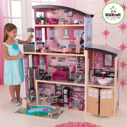 KidKraft - KidKraft Sparkle Mansion Modern Dollhouse Multicolor - 65826 - Shop for Dollhouses and Dollhouse Furnishings from Hayneedle.com! There are your regular run-of-the-mill dollhouses and then there s the Kid Kraft Sparkle Mansion Dollhouse. This glamorous dollhouse is full of colorful artwork and creative details that young ones are sure to adore. This dollhouse is loaded with modern touches including the curved roof silver spiral staircase and funky interior. The 30 pieces of furniture and interior decor give your children lots of flexibility in their play and allows them to move the pieces around and change up the interior as often as they d like. The gliding elevator gives your child s dolls a lift between the first and second floor a luxurious detail that your children are sure to love. The separate outdoor patio area includes a swimming pool and barbecue grill -- the place to be on a sunny day. Because of its grand size and backyard area this dollhouse is perfect for more than one child to play with at once. Overall dimensions: 49.5L x 25.5W x 53.5H inches. Ideal for ages 3-8 years. Assembly required. About KidKraftKidKraft is a leading creator manufacturer and distributor of children's furniture toy gift and room accessory items. KidKraft's headquarters in Dallas Texas serves as the nerve center for the company's design operations and distribution networks. With the company mission emphasizing quality design dependability and competitive pricing KidKraft has consistently experienced double-digit growth. It's a name parents can trust for high-quality safe innovative children's toys and furniture.