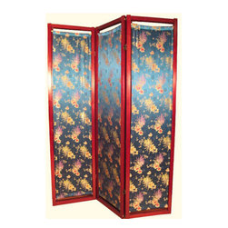 n/a - Oriental Folding Screen With Silk Crysanthemum Design - Turquoise silk 3-panel Shoji screen or room divider with Crysanthemum design. This charming Asian screen has a floral design finely woven into turquoise silk fabric, stretched on a wooden frame. This makes a great privacy screen, wall decoration, or treatment for a large window in your home, office or studio!  Dowels for stretching fabric are removable, for easy fabric change or replacement.