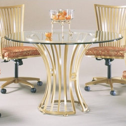 """Johnston Casuals - Paralline Dining Table - Add some cosmopolitan flair to your dcor with this sleek Paralline Contemporary Dining Table. With its slatted pedestal base design, solid powder-coat metal construction, and 42"""" round beveled-edge glass top, this dining table is sure to modernize your dining room. And because each dining table is individually hand-made in Johnston Casuals' USA factory, you can count on years of lasting quality and aesthetic appeal! Dining Table Features: -High-quality powder-coat metal construction. -Seats up to 4. -42"""" Round beveled-edge glass table top. -Commercial-grade welding. -Individually hand-crafted in the USA. -Slatted pedestal base design. -Overall dimensions: 30"""" H x 42"""" W x 42"""" D. -10-Year structural failure warranty on metal frame. More customization options may be available for an additional charge. Also, please be aware that as each item is created individually, slight variations in finish and shape may occur. Why Choose Johnston Casuals? Superior Quality, American-Made Durability: All Johnston Casuals furniture is hand-made from high-quality materials right here in the USA. Commercial-grade and tested tough, no one does it better. Superior welding techniques and unwavering attention to detail ensure that every piece is built to last! Unrivaled Selection, Creative Design Solutions: With a myriad of metal finishes and a multitude of available upholsteries to choose from, Johnston Casuals makes it a snap to create style solutions that are uniquely you. Keep it simple or mix and match across a wide range of attractive contemporary designs. Life is always better with options! Eco-Friendly Products, Effortless Style: At Johnston Casuals, they strive to protect the environment and produce beautiful and eco-friendly products. From recycling factory materials to using only EPA-certified landfill-safe chemicals, Johnston Casuals continues to explore new ways to protect and respect the environment. After all, nature is the mother of"""