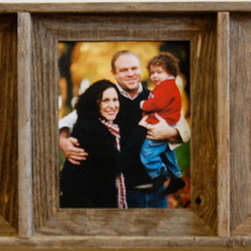 MyBarnwoodFrames - Collage Picture Frame Barnwood Triple Frame, 8x10 - This  reclaimed  wood  collage  frame  features  3  8x10  openings,  perfect  for  rustic  portraits,  Three  grandchildren,  or  even  three  great  photos  from  your  last  beach  vacation.                  Includes  Glass  and  Backing              Hang  horizontally  or  vertically              Made  in  USA              Overall  Dimensions:  14x35  inches