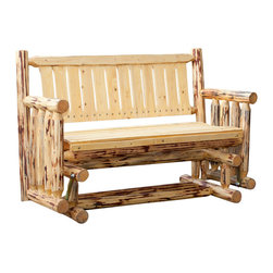 Montana Woodworks - Montana Woodworks Glider in Grade Oil Exterior - A popular item for the front porch, this glider/Rocker is enjoyed by many. The close relative of Montana Woodworks log deck bench, this glider design incorporates glides that allow it to gently rock back and forth. Handcrafted from solid, American grown wood this glider is sure to please. Skip peeled by hand using old-fashioned draw knives for a unique, one-of-a-kind look that exudes rustic charm. Some assembly required. 20-year limited warranty included at no additional charge.