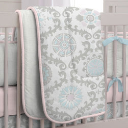 Pink and Gray Rosa Crib Comforter - Pink and Gray Rosa crib skirt with insets in Silver Gray Silk and trim in Solid Pink.