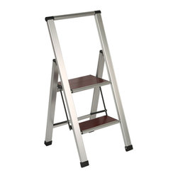 Richards Homewares - Richards Homewares 2-step Brushed Aluminum/ Wood Step Ladder - A short ladder is indispensable for household tasks such as light bulb changing or cleaning the tops of fans and windows. The Aluminum and Wood Stepladder gives you the support you need in a stylish package.