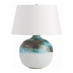 Arteriors - Hemby Lamp - An arresting mix of blues and greens combined with gunmetal circle the top of this porcelain lamp body before giving way to a simple blue-gray glaze at the bottom. The art glaze on the top section will vary from piece to piece.  Takes 1 - 150 w 3-way bulb.
