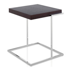 Pianca - Servogiro & Servoquadro Contemporary End Table - Why work to fit square pegs in round holes when you can get what you need? This modern end table is sleek and sexy, with a polished chrome base and thick top in your choice of finishes. Pick a round or square one to best work in your room.