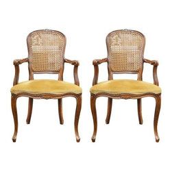 """Pre-owned French Style Velvet Armchairs - A Pair - A pair of French-style armchairs with corduroy velvet cushions and brass nailhead trim.     Seat, 18""""H"""