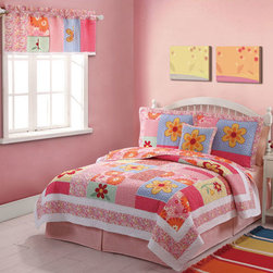 Pem America - My World Olivia Pink Pillow - - Large bright flowers with applique and fun background floral prints. This versatile pattern is a must to brighten up any room. The fun prints for this patterns use bright yellow, orange, red, hot pink to make this bed pop. Any room will benefit from the color that Olivia brings into the room. 16x16 inch pillow with hand pieced face design coordinates with quilt.  - 100% Cotton face cloth filled with 100% hypoallergenic polyester.  - Machine washable. Pem America - PQW1327DPL1100