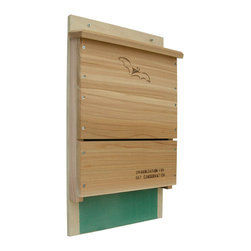 Songbird Essentials - Single Chamber Organization for Bat Conservation Bat House Kit - Designed by the Organization for Bat Conservation. Made of weather-resistant cedar and 3/4 inch exterior plywood back. Interior nylon mesh for maneuverability. Extended landing for easy entrance. Ventilation slot for air circulation. Holds 100 bats.