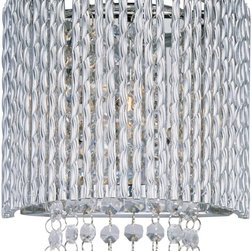 ET2 Lighting - ET2 Lighting Spiral 1-Light Wall Mount - E23130-10PC - The Spiral Collection's twisted metal tubing sparkles like diamonds in the sun. Strands of high quality K9 crystal beads add to the impact making this fixture look as brilliant on as it does off