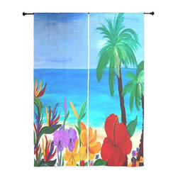 xmarc - Palm Tree Tropical Sheer Curtains, Tropical Beach - The windows have it with these sheer, decorative curtains. Romantic and flowing, these elegant chiffon window treatments finish a room with the perfect statement