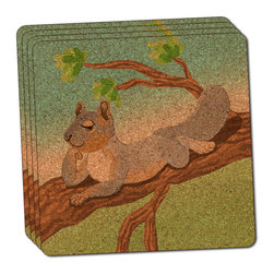 """Made on Terra - Sassy Squirrel Thin Cork Coaster Set of 4 - You're just cleaning up after your epic party when you realize it... something's different. Unlike all those other times, you're not mopping up cup condensation from your counters and tables. This time, everyone used a coaster. Everyone. Maybe it's because you handed out a coaster with every glass. No. You've tried that before. No, this time it's because of the actual coasters. You found the cutest Made On Terra printed cork coasters. You love that everyone commented on how unique they were,  from the light-weight, thin cork material to the printing that creates a cool and subtle effect. Plus, they're really absorbent, but dry quickly. And they're made from an eco-friendly, sustainable resource, so that makes you feel pretty great, too. Choose from Made on Terra's many fabulous cork coasters. Measures 4"""" x 4"""" x 1/8"""". Made of thin cork. Super cute and nicely absorbent. Sold in sets of four."""