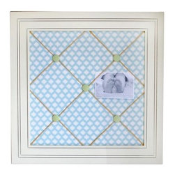 "New Arrivals Inc. - Sprout Framed Memoboard - The Sprout Framed Memoboard is perfect for photos & memorabilia in the nursery, playroom or kid's room. The Sprout Framed Memoboard is covered in Dream Oasis fabric & hung with coordinating ribbon. 3 magnet buttons are included with each board. Handmade in the USA.  Dimensions:  18"" x 12""."