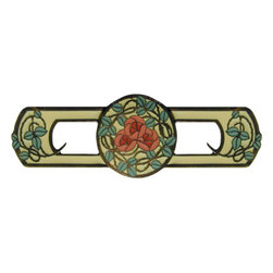 Delaney's Rose Pull in Yellow Enamel, Dark Brass Finish - Delaney's Rose Pull in Yellow Enameling, Dark Brass Finish. Also comes in Blue, Rose, and Yellow/Coral Flower enameling.