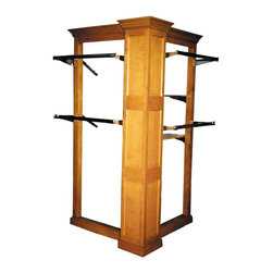 British Traditions - Square Corner Post L-Shaped Display Rack w 2 Wings (Antique Blue) - Finish: Antique Blue. Each finish is hand painted and actual finish color may differ from those show for this product. L-shaped display rack. Square corner post with two wings. Ships unassembled, will come with all hardware. Center Pilaster: 12 in. square. Both Wings: 36 in. long. 48 in. L x 48 in. W x 93 in. H (133 lbs.)The L-Rack has a square country pilaster supporting two open wings. The wings can take wooden or glass shelves, hang rods, or face-outs.