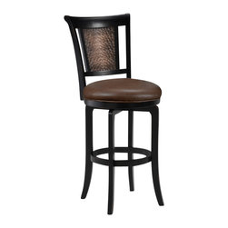 Hillsdale Furniture - Hillsdale Cecily Swivel 30.5 Inch Barstool - Our most exciting new look, hammered copper, is married with our most popular finish, distressed black honey. Add a brown faux leather seat and 360 degree swivel completes this fresh and unique style. The Cecily barstool will be a fabulous addition to your kitchen or bar area.